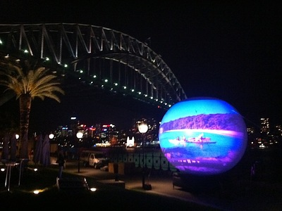 Inflatable Projection Sphere Sydney Harbour