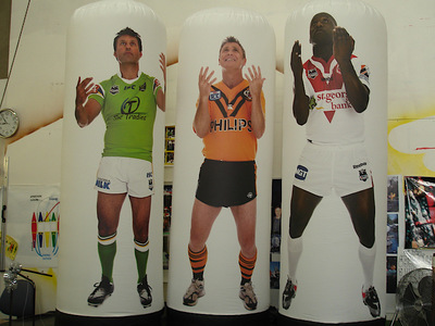 Rugby League Players Inflatable pillars display