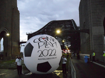 World Cup Soccer bid Inflatable Ball publicity stunt Sydney Harbour Bridge